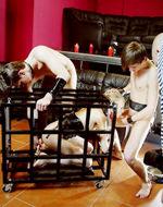 Fetishbar - Slavegirl gets teamed. Two...