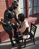 Two latex fetishists suit up and then...