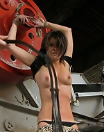 Hot Angie handcuffed in a dirty...