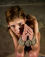Rope bondage and whip. Hard day for...