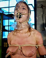 Brutal plastic masked head was gagged...