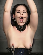 Sexy babe in leather corsette....